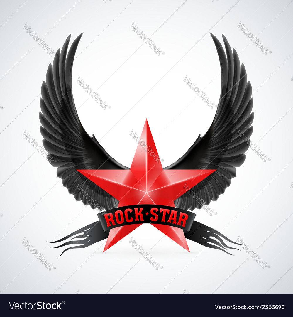Red star with rock star banner and wings vector | Price: 1 Credit (USD $1)