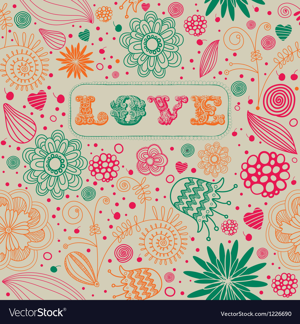 Retro floral seamless background vector | Price: 1 Credit (USD $1)