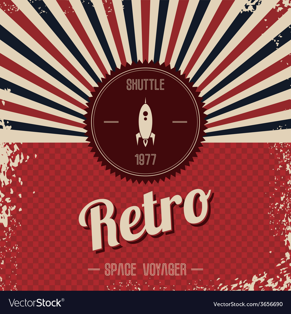 Retro space rocket template theme vector | Price: 1 Credit (USD $1)