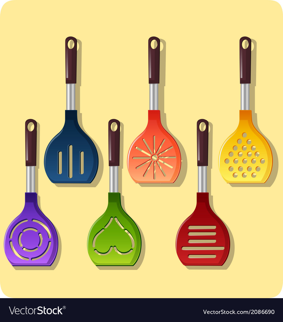 Set of colored ladle vector | Price: 1 Credit (USD $1)