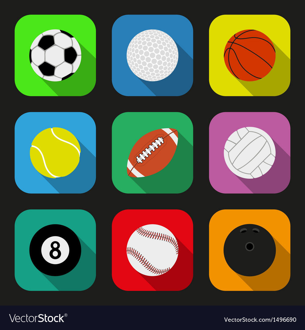 Sport balls flat icons set vector | Price: 3 Credit (USD $3)
