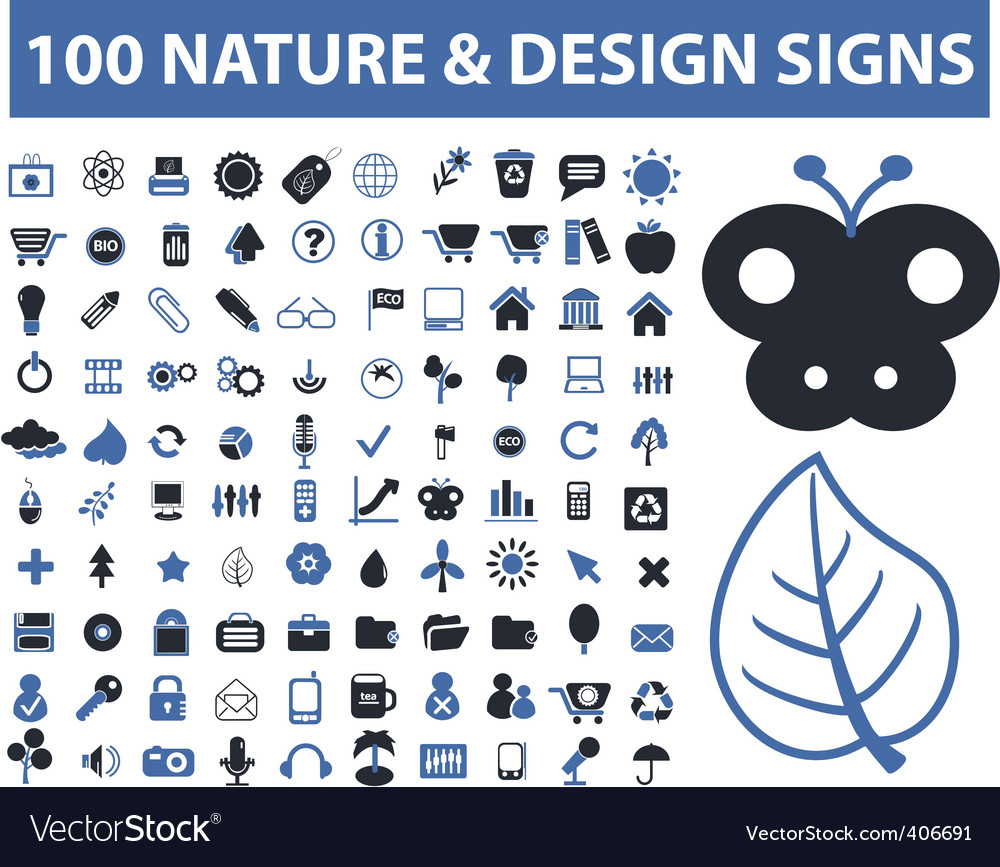 100 nature  design signs vector | Price: 1 Credit (USD $1)