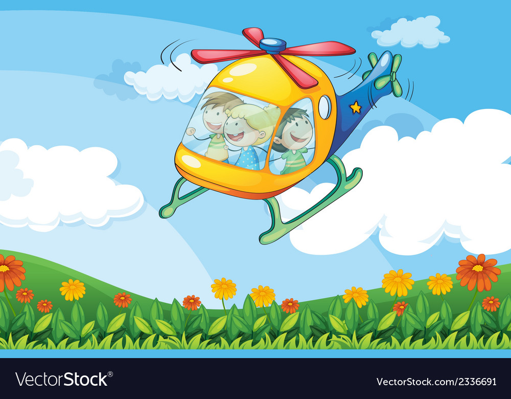 A helicopter flying with kids vector | Price: 3 Credit (USD $3)