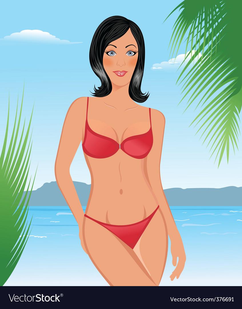Bikini girl on the beach vector   Price: 3 Credit (USD $3)