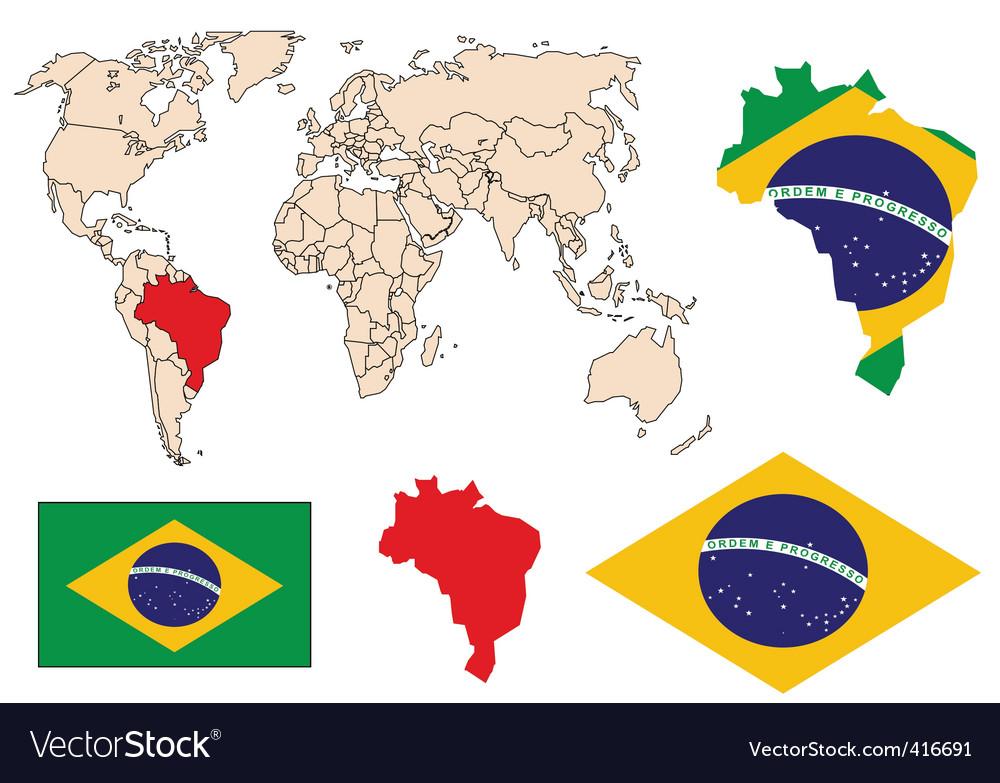 Brazil in the world vector | Price: 1 Credit (USD $1)