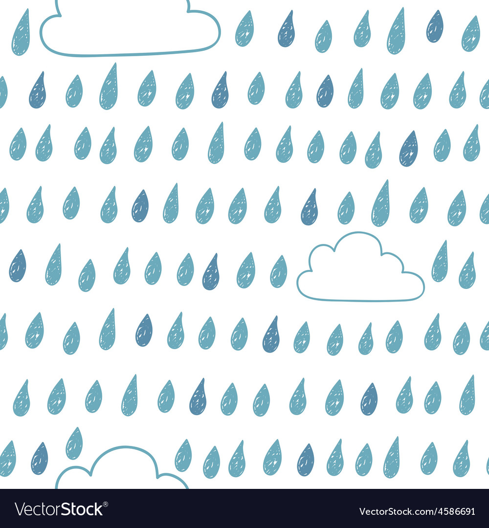 Cute seamless pattern with clouds and raindrops vector | Price: 1 Credit (USD $1)