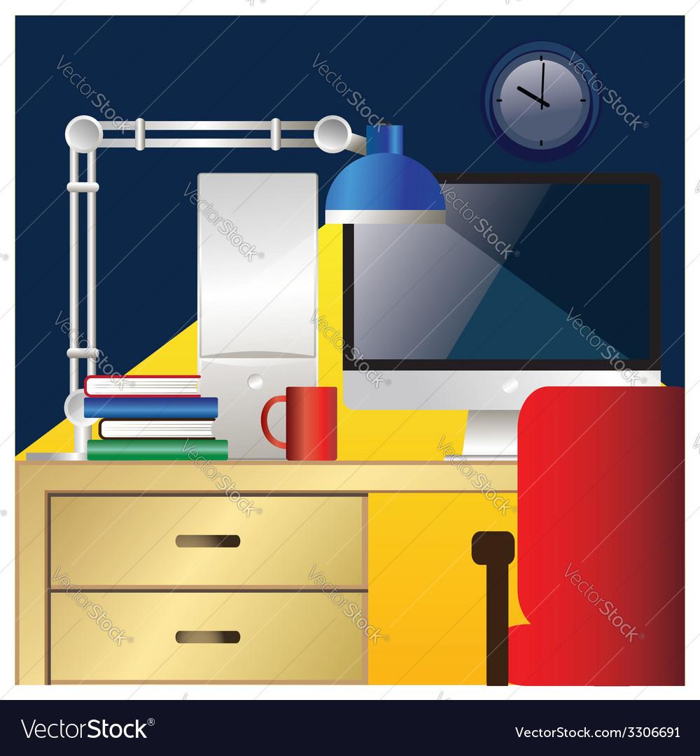 Desktop workstation colorful vector | Price: 1 Credit (USD $1)