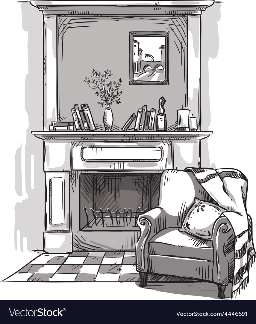Hand drawn fireplace and an armchair vector | Price: 1 Credit (USD $1)