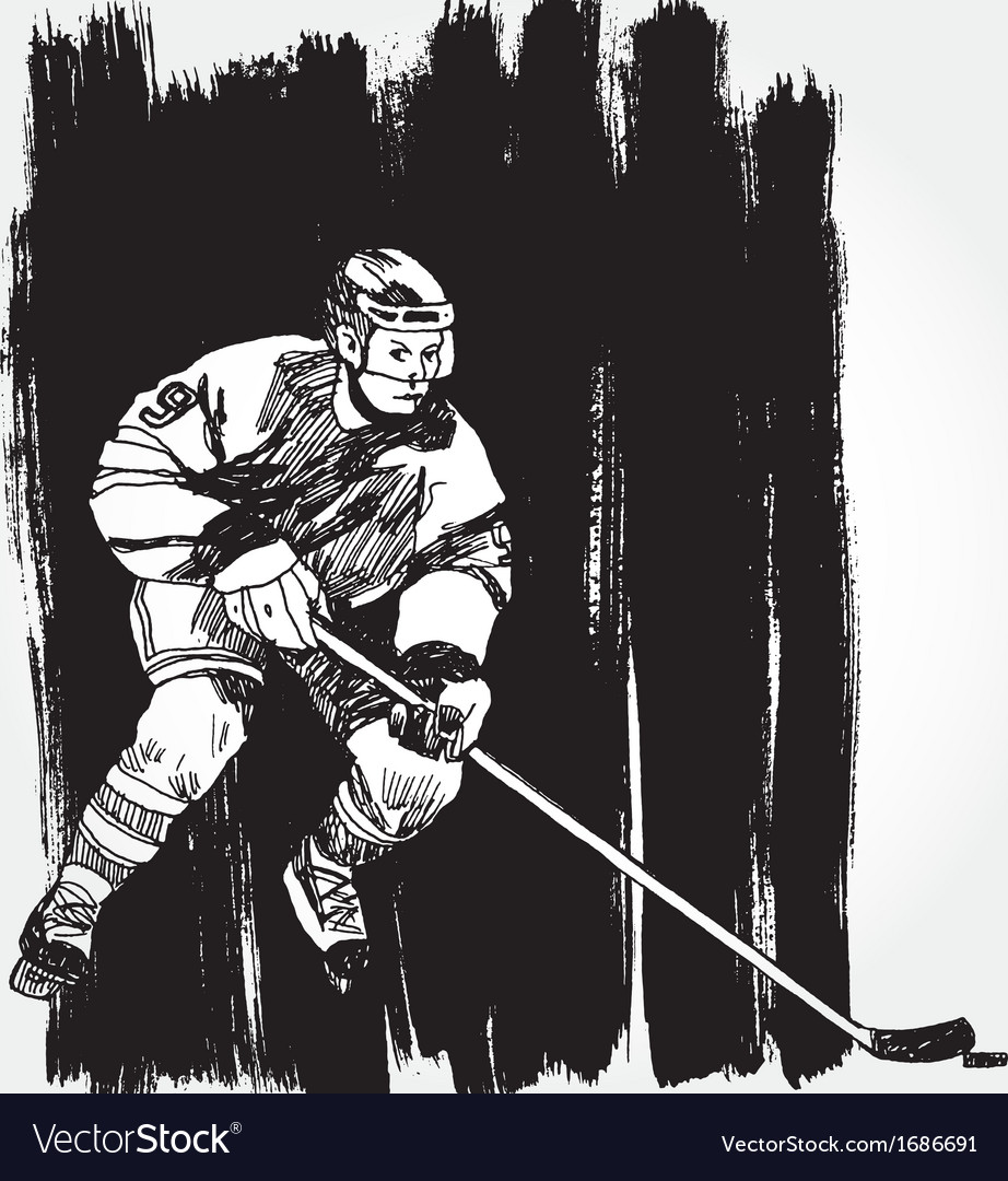Hockey player6 vector | Price: 1 Credit (USD $1)
