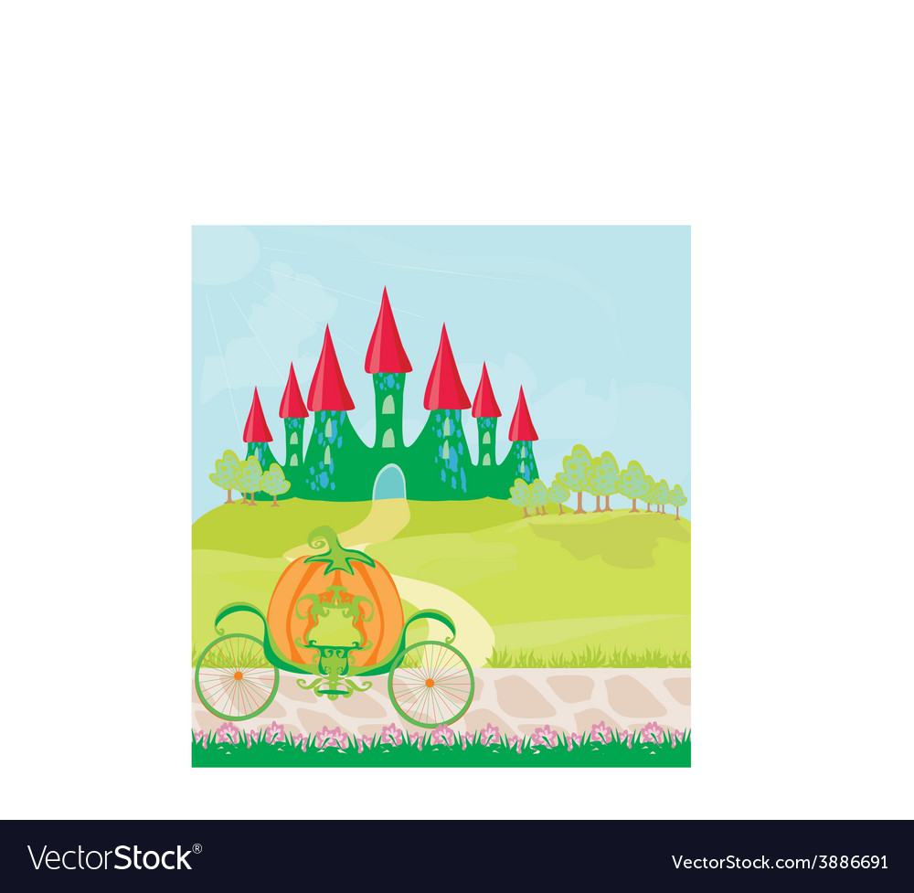 Pumpkin carriage standing in front of a fairytale vector | Price: 1 Credit (USD $1)