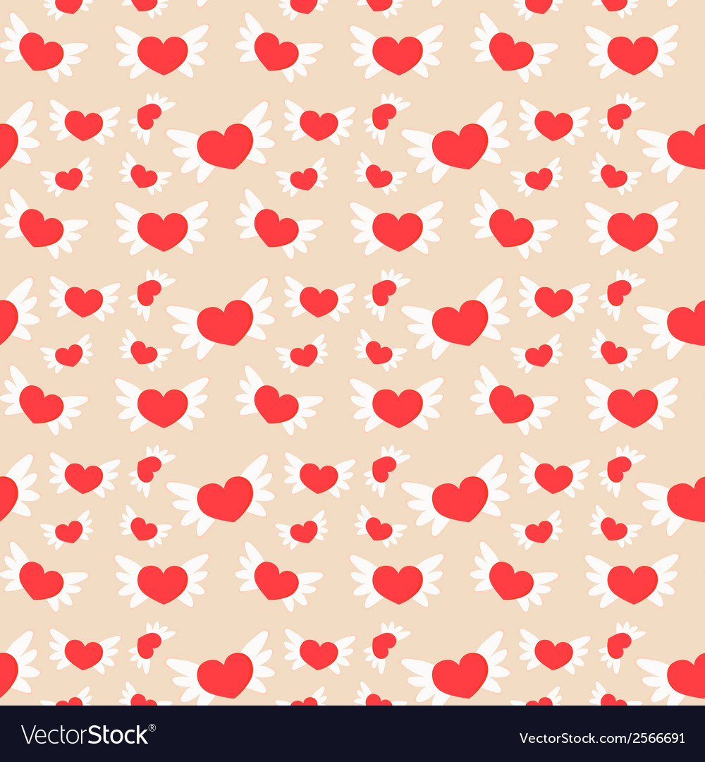 Romantic seamless pattern with hearts vector | Price: 1 Credit (USD $1)