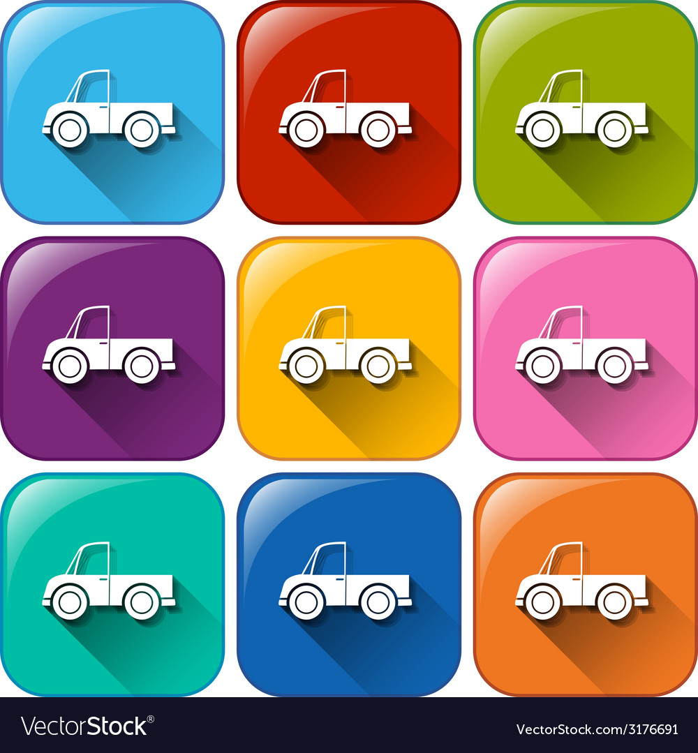 Rounded buttons with cars vector | Price: 1 Credit (USD $1)