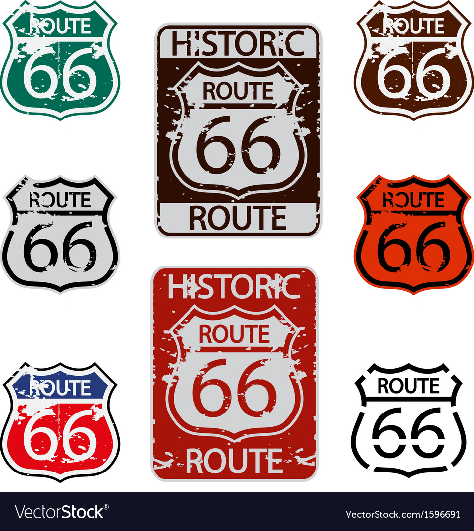 Route 66 sign set vector | Price: 1 Credit (USD $1)