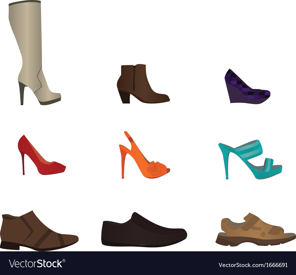 Set of male and female shoes vector | Price: 1 Credit (USD $1)