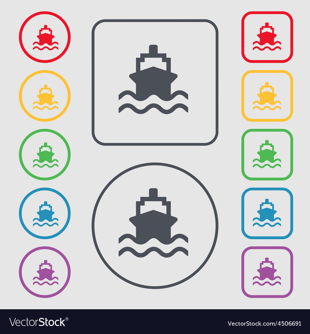 Ship icon sign symbol on the round and square vector | Price: 1 Credit (USD $1)
