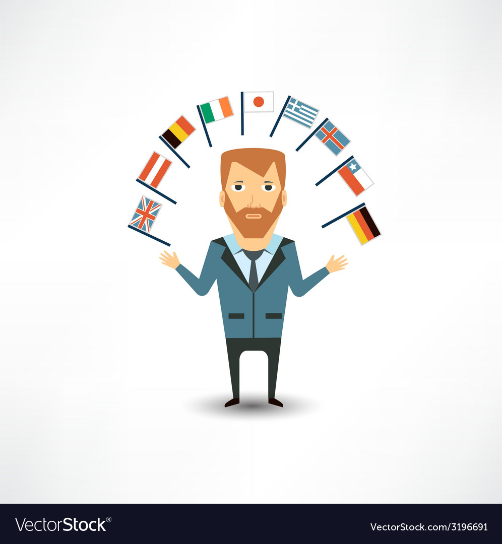Translator with flags vector | Price: 1 Credit (USD $1)