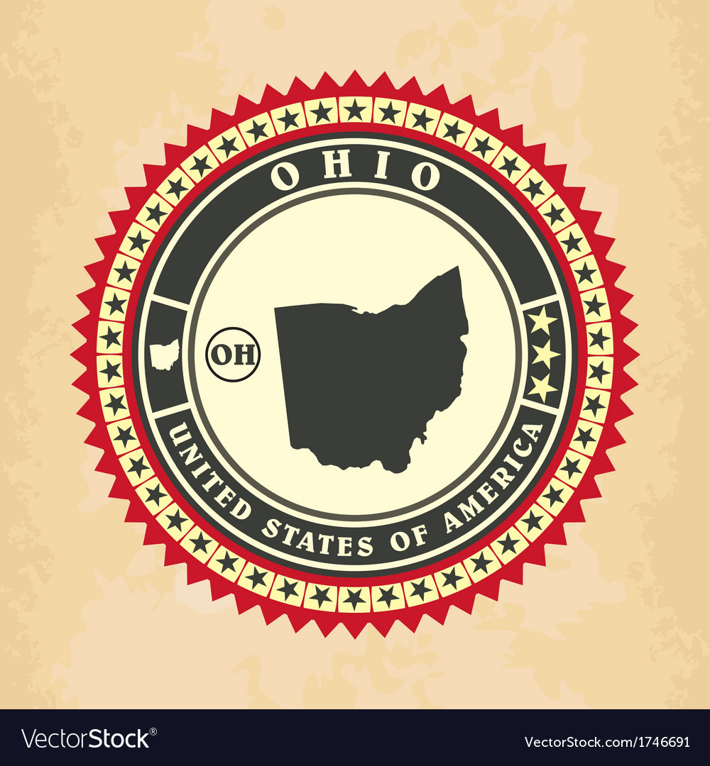 Vintage label-sticker cards of ohio vector | Price: 1 Credit (USD $1)