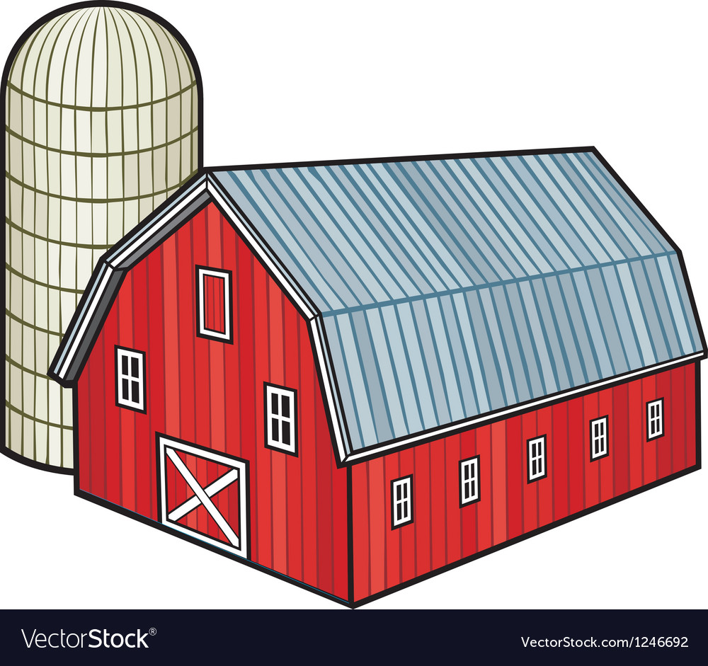 Barn and silo vector | Price: 1 Credit (USD $1)