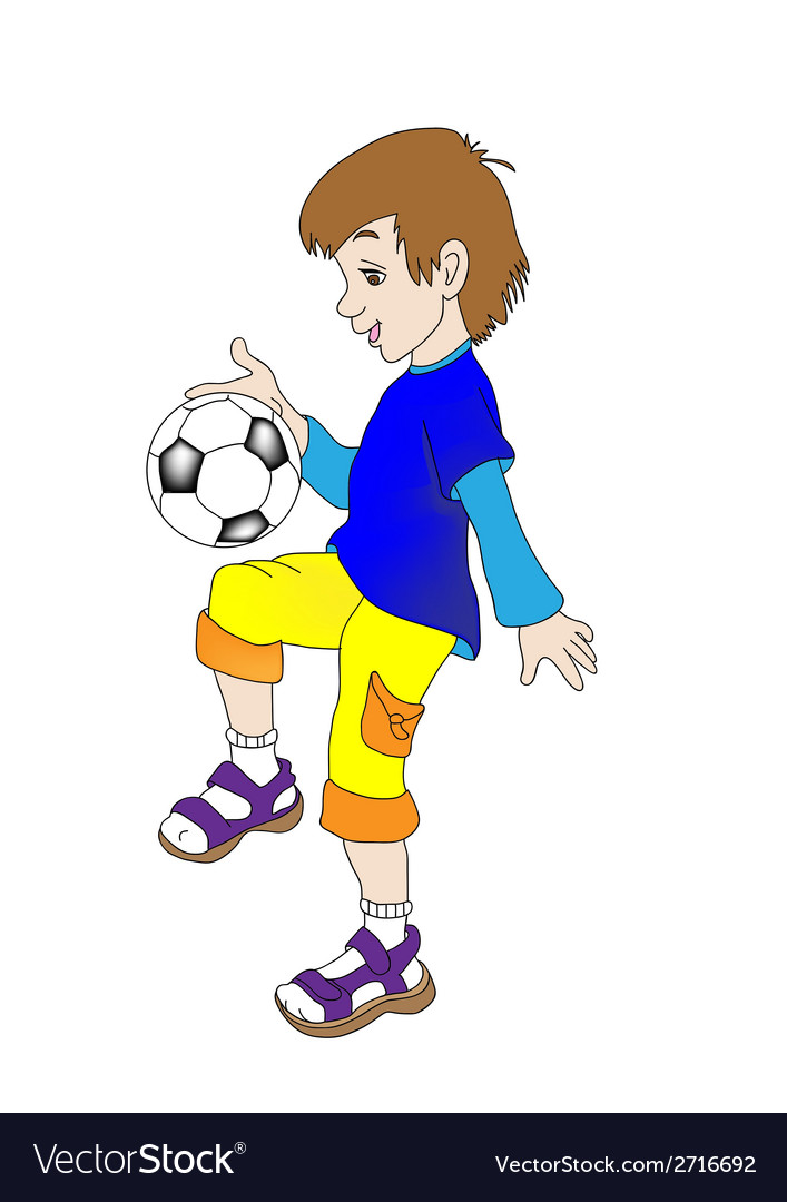 Boy playing with a ball vector | Price: 1 Credit (USD $1)