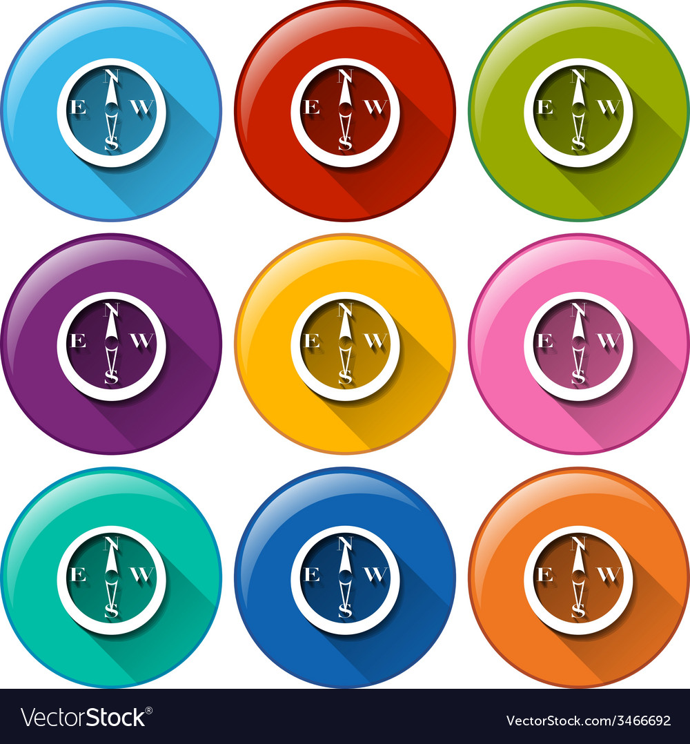 Buttons with compass vector | Price: 1 Credit (USD $1)