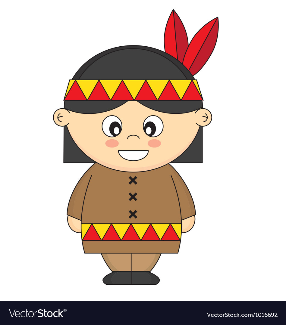 Child dressed as an american indian vector | Price: 1 Credit (USD $1)