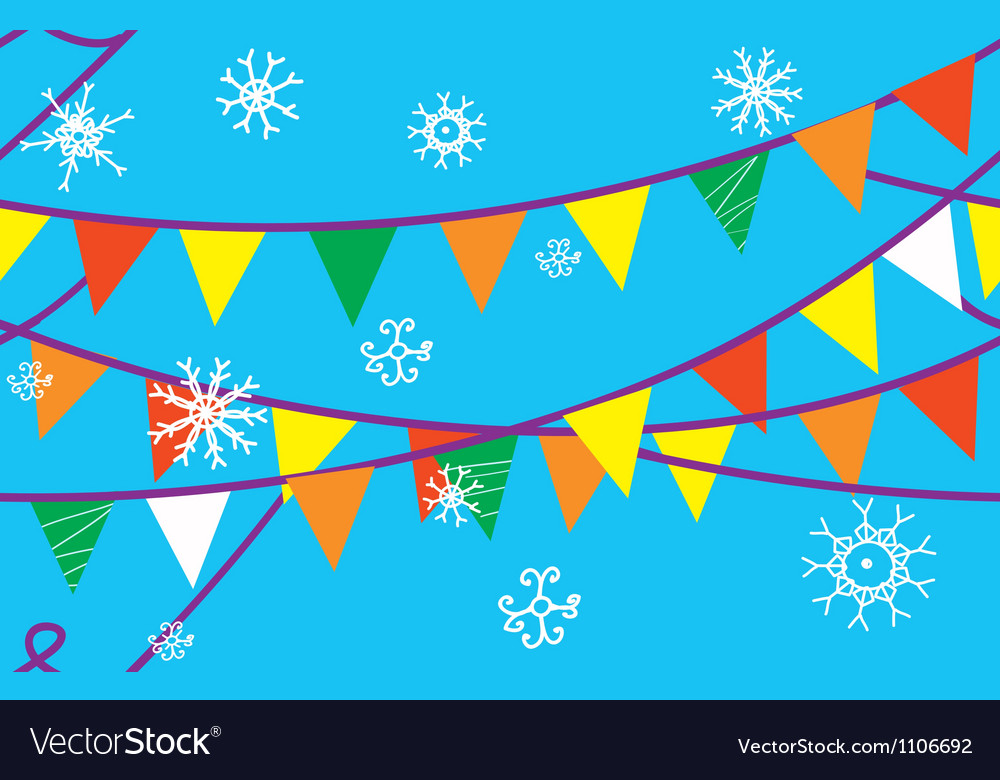 Christmas seamless border with flags vector | Price: 1 Credit (USD $1)
