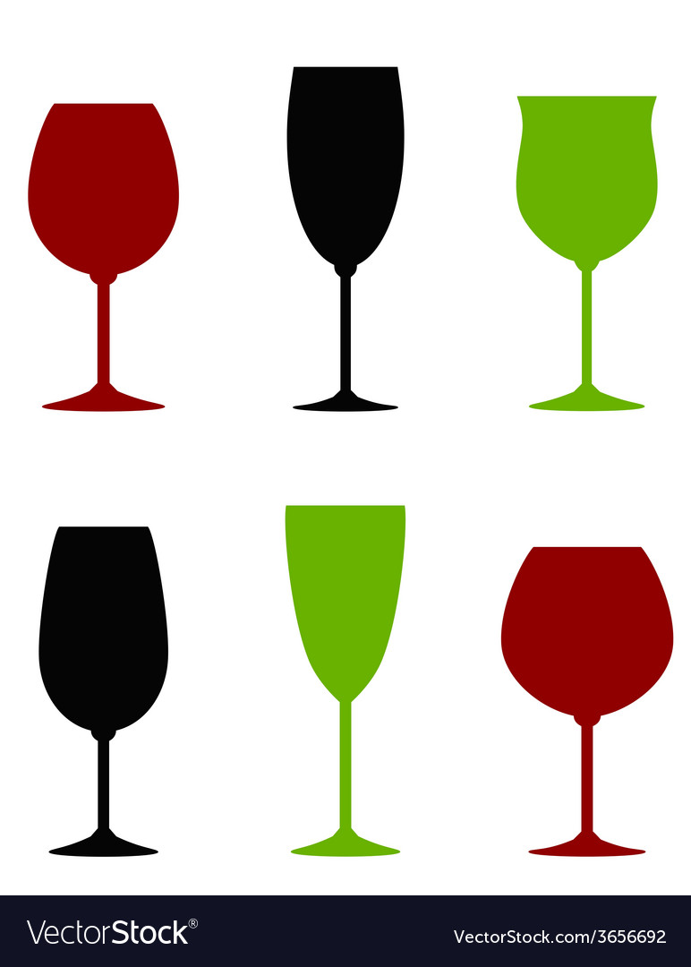 Colorful wine glasses set vector | Price: 1 Credit (USD $1)