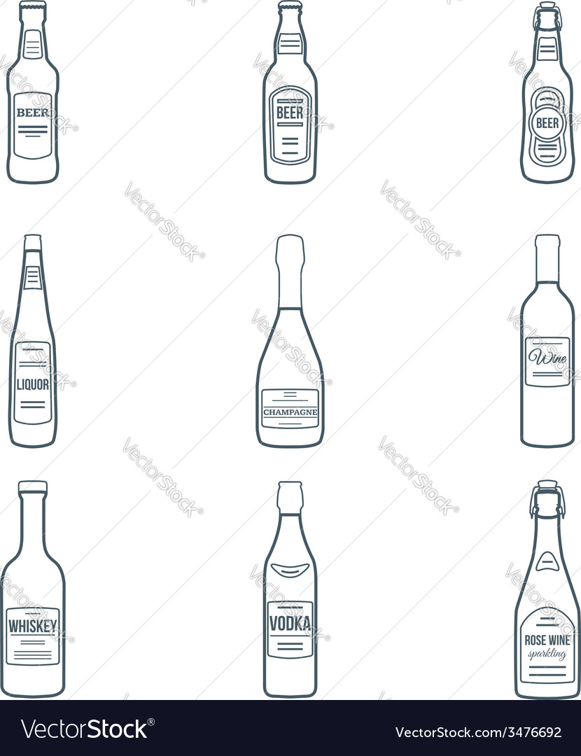 Dark outline alcohol bottles icons set vector | Price: 1 Credit (USD $1)