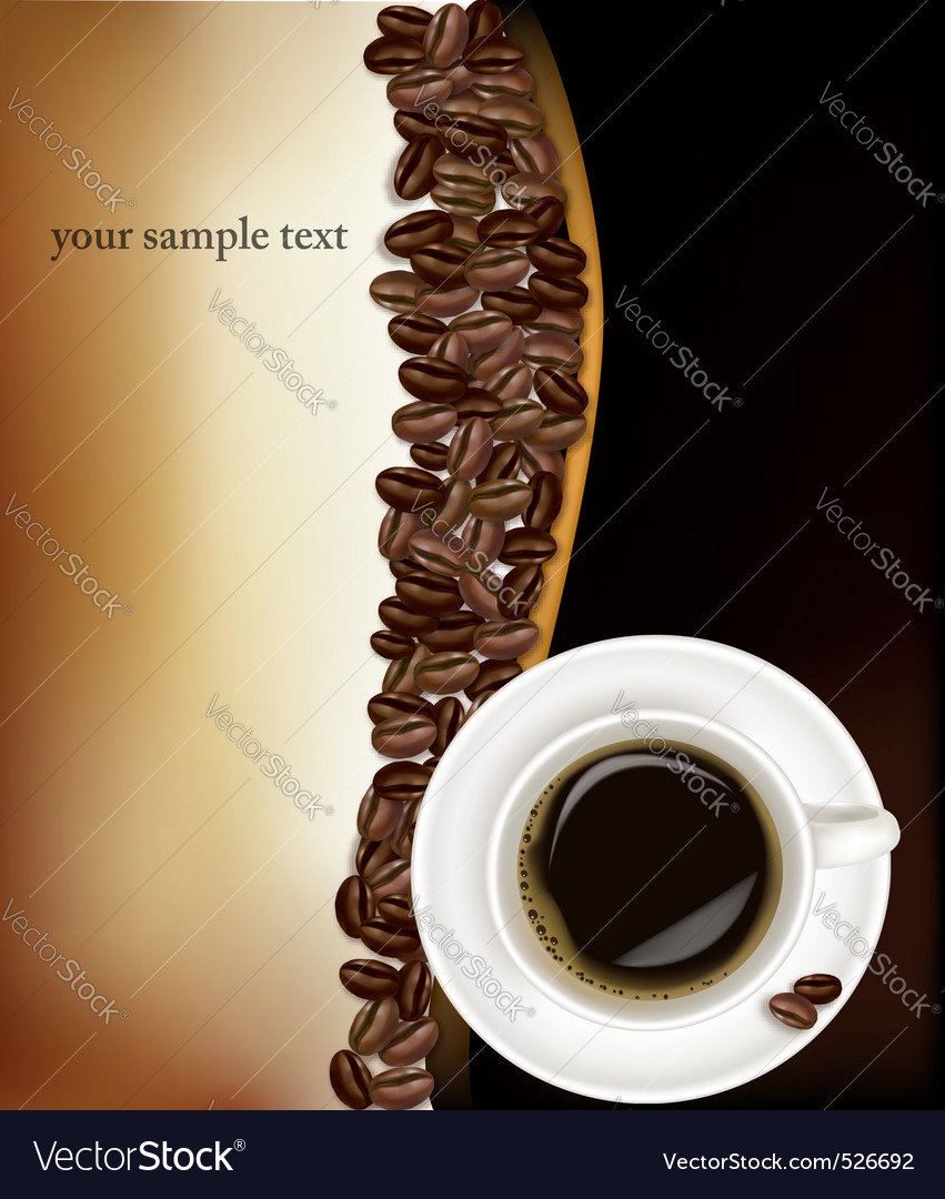 Desing with cup of coffee and beans on black vector | Price: 3 Credit (USD $3)