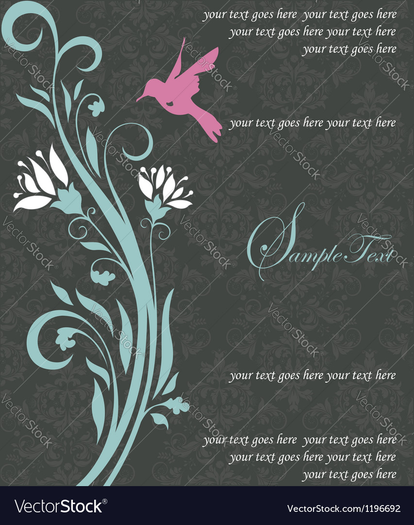Floral invitation card with bird vector   Price: 1 Credit (USD $1)