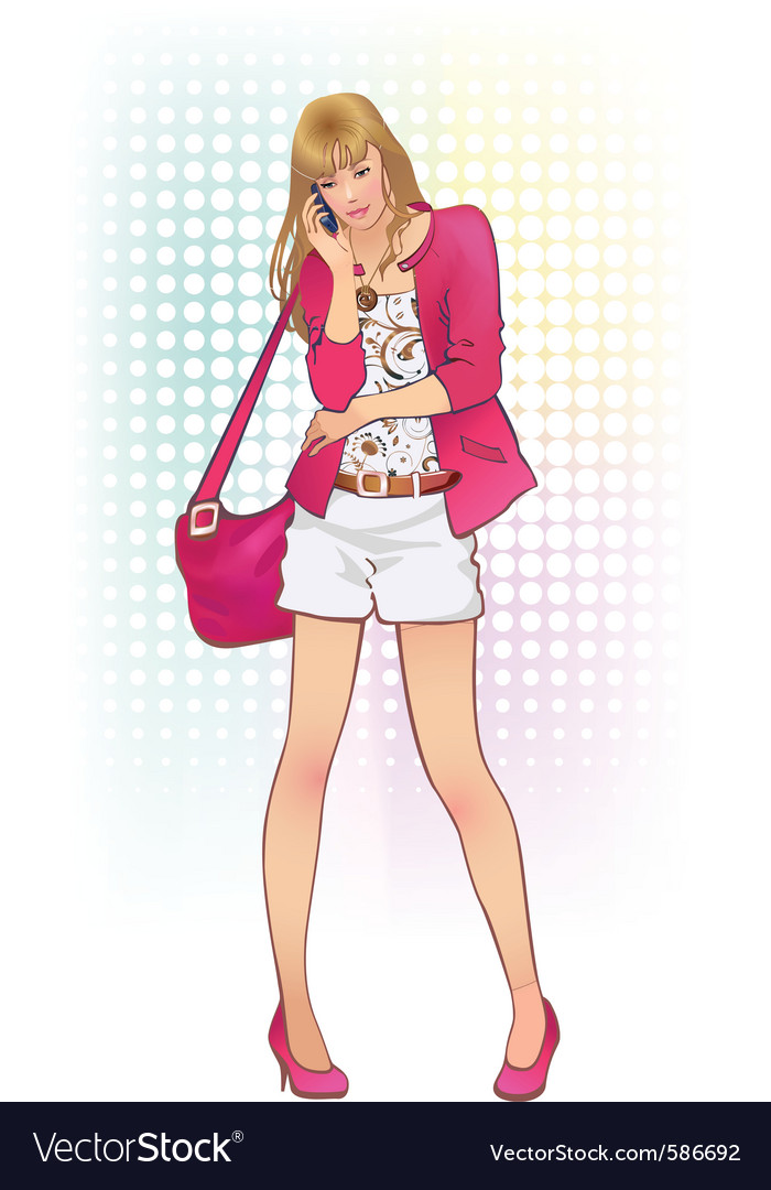 Girl with telephone vector | Price: 3 Credit (USD $3)