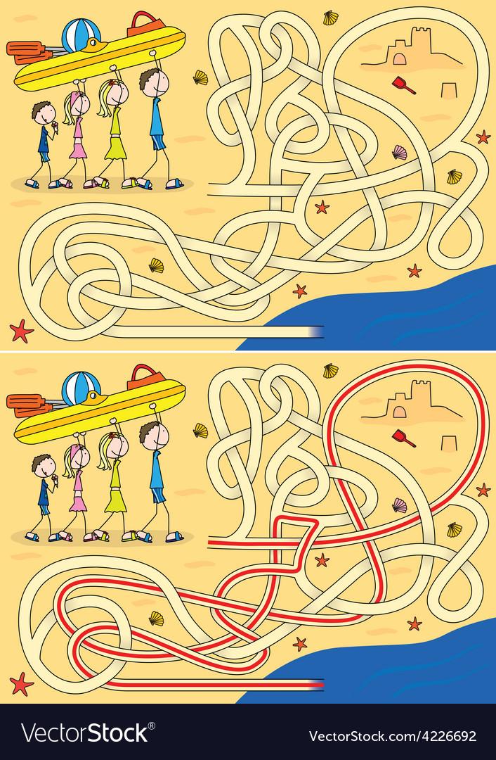 Happy family maze vector | Price: 1 Credit (USD $1)