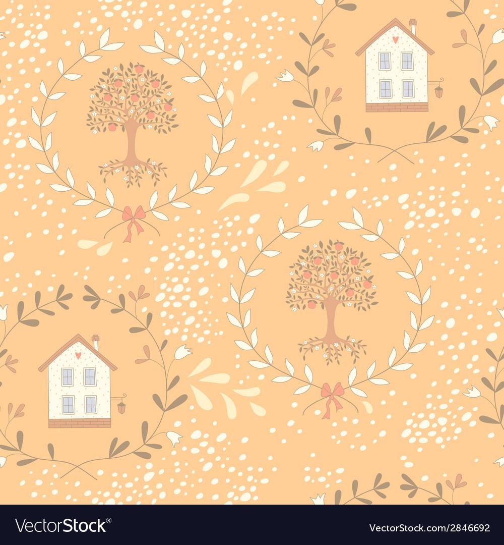 Orange tree seamless pattern vector | Price: 1 Credit (USD $1)
