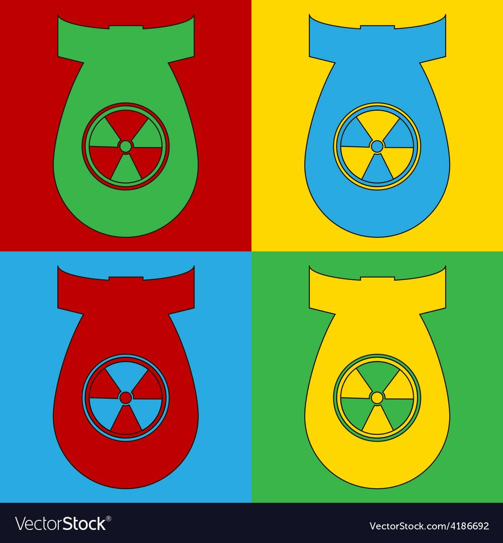 Pop art atom bomb icons vector | Price: 1 Credit (USD $1)