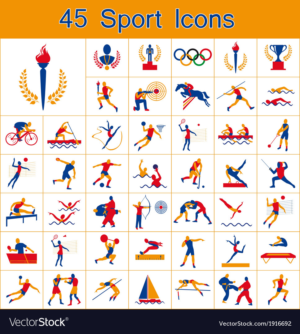 Set of 45 sport icons vector | Price: 1 Credit (USD $1)