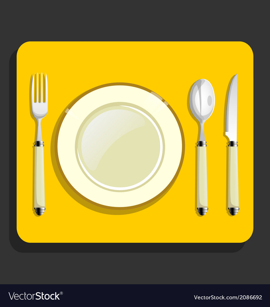 Utensils and fork plate knife spoon vector | Price: 1 Credit (USD $1)