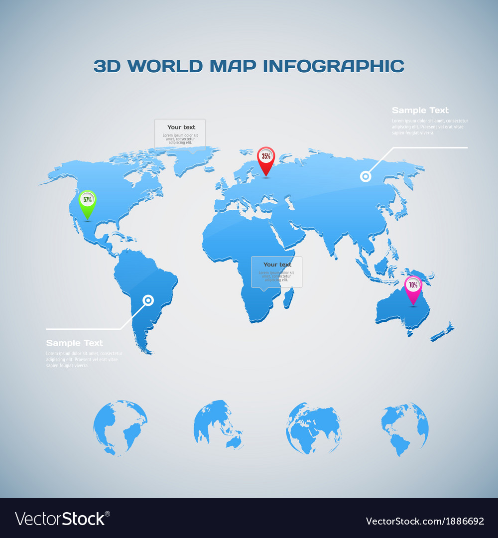 World map infographic with globe icons vector | Price: 1 Credit (USD $1)