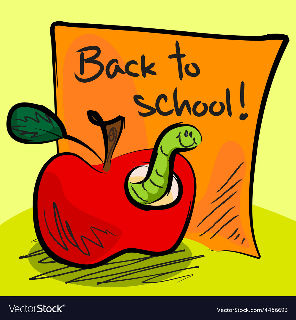 Back to school worm in apple vector | Price: 1 Credit (USD $1)
