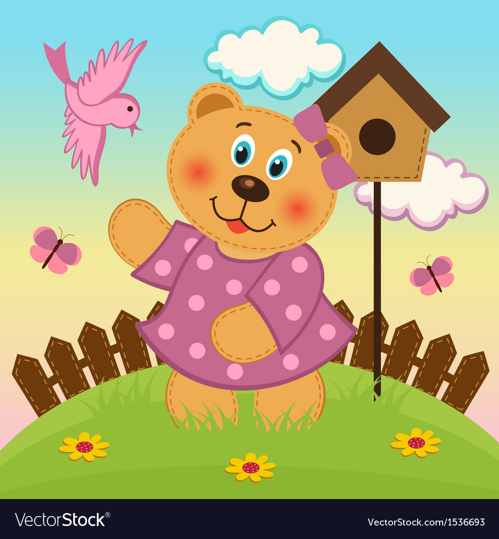 Bear girl feeding birds vector | Price: 3 Credit (USD $3)