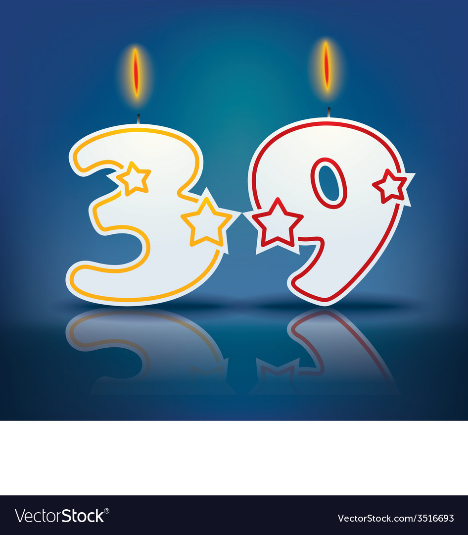 Birthday candle number 39 vector | Price: 1 Credit (USD $1)