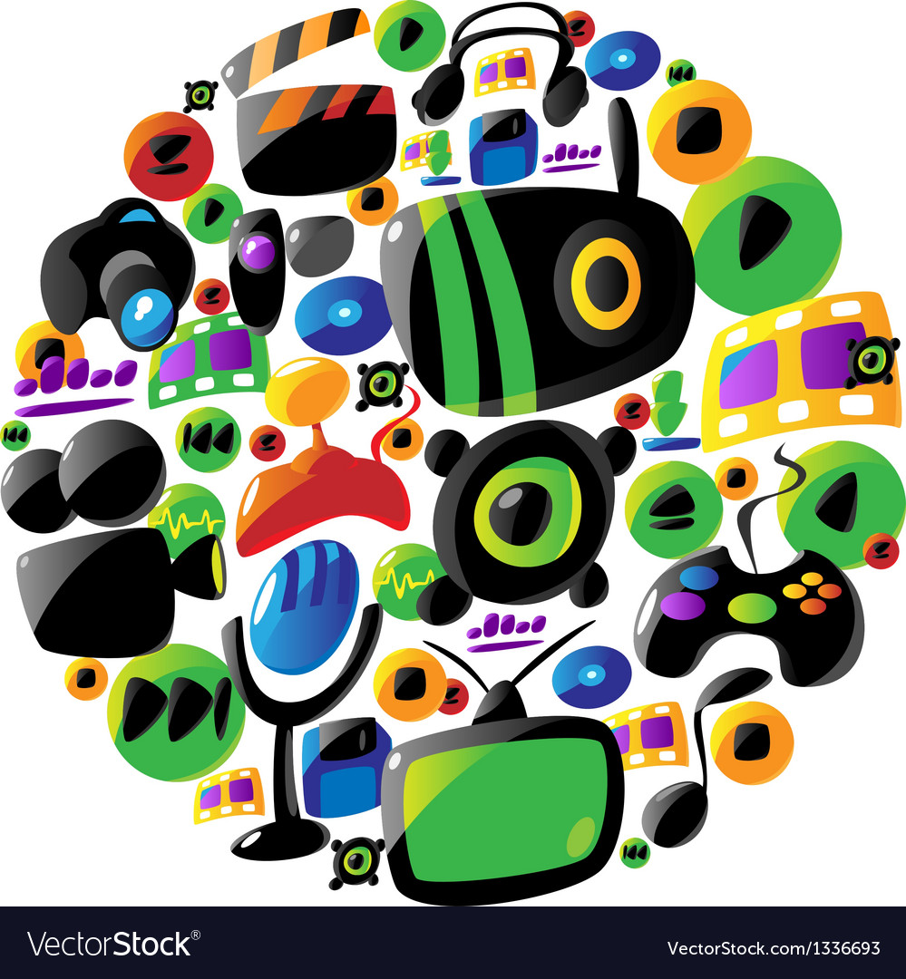 Colorful entertainment and music icons in circle vector | Price: 1 Credit (USD $1)