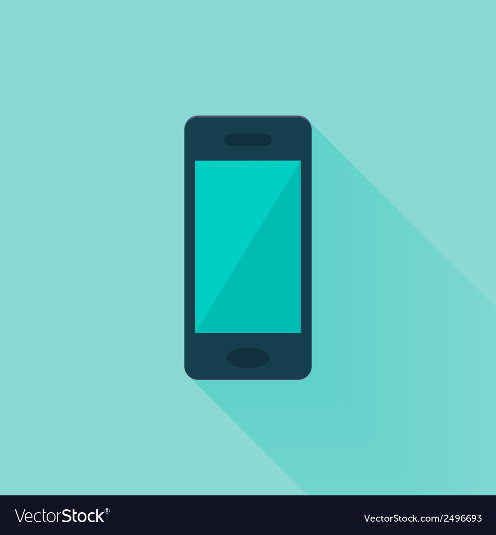 Flat mobile phone over mint vector | Price: 1 Credit (USD $1)