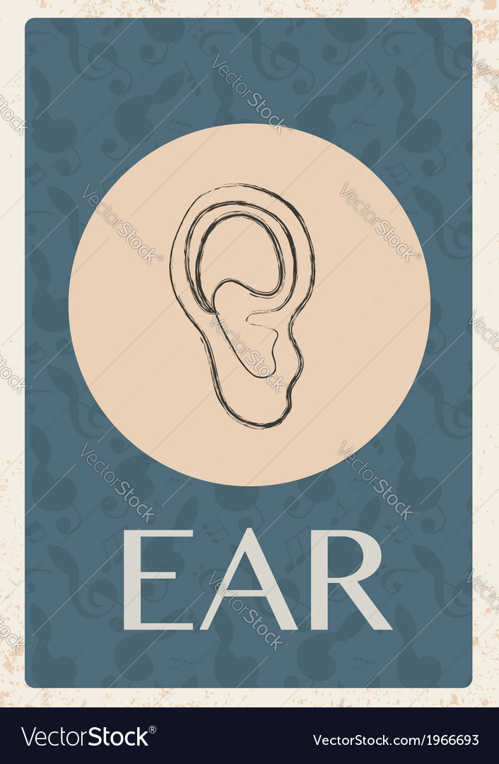 Retro grunge background with ear vector | Price: 1 Credit (USD $1)