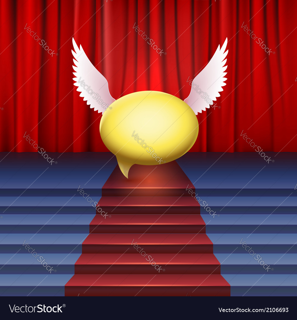Stage with red carpet and bubble with wings vector | Price: 1 Credit (USD $1)