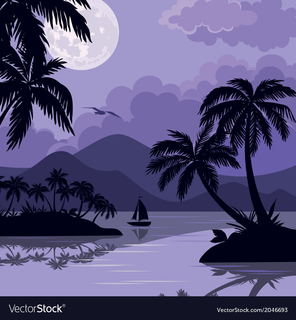 Tropical sea landscape with moon and palm vector | Price: 1 Credit (USD $1)