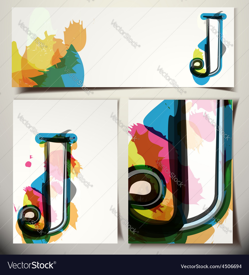 Artistic greeting card letter j vector | Price: 1 Credit (USD $1)