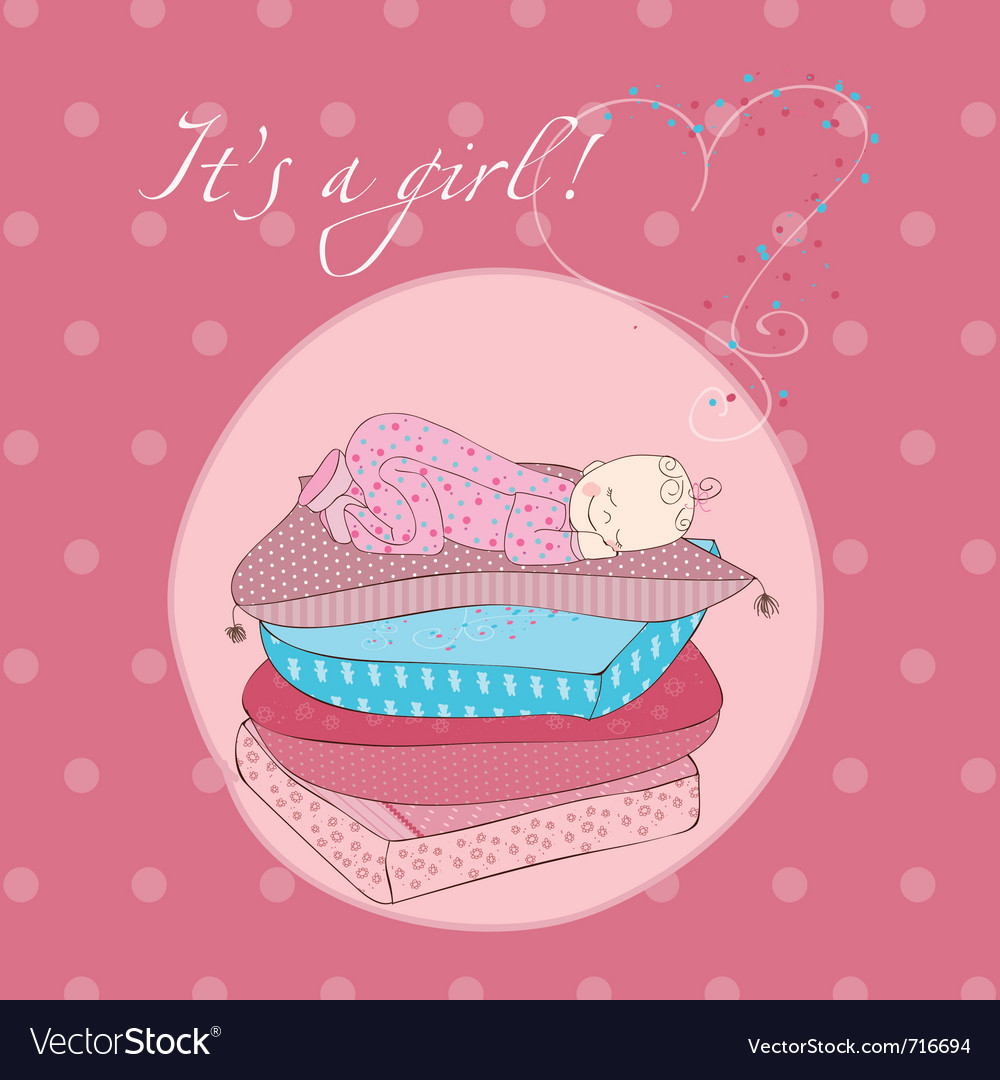 Baby girl sleeping on pillows card in pink vector | Price: 1 Credit (USD $1)