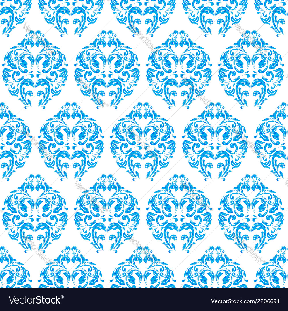 Blue vintage seamless pattern vector | Price: 1 Credit (USD $1)