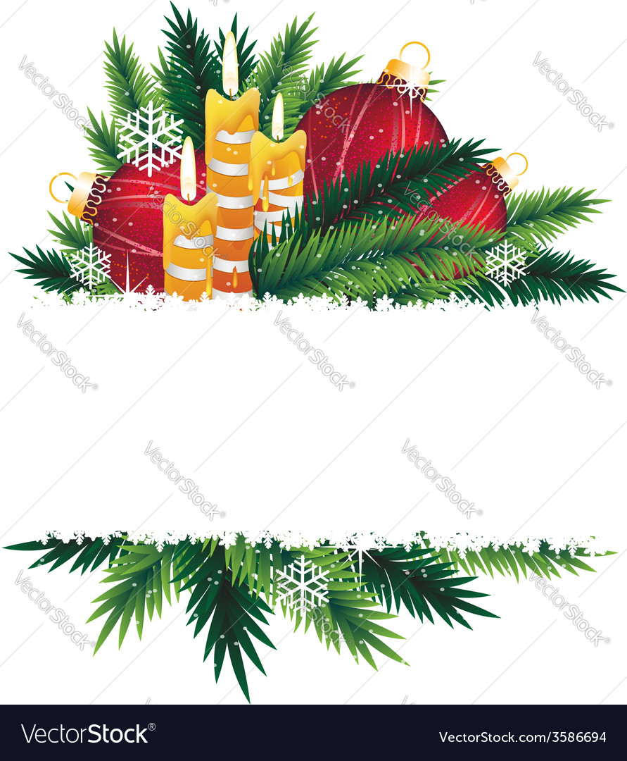 Christmas decorations and pine tree branches vector | Price: 1 Credit (USD $1)