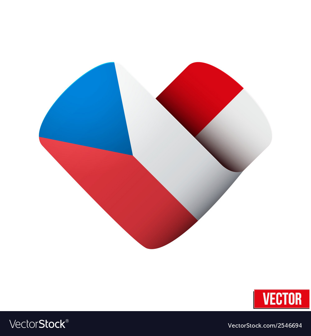 Flag icon in the form of heart i love czech vector | Price: 1 Credit (USD $1)